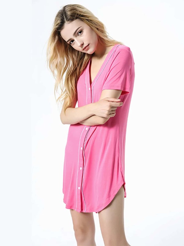 5d14430eb10ef Contrast Binding Curved Hem Shirt Dress -SHEIN(SHEINSIDE)