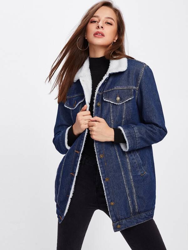 jeans mouton SheIn ceinture French imitation en en avec Veste Fpxzff