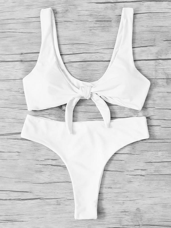 f24e0c8299b23 Knot Front Bikini Set -SheIn(Sheinside)