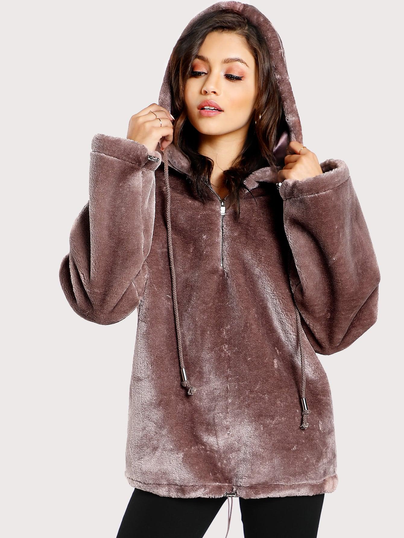 Zip Front Drop Shoulder Faux Fur Hoodie Shein Sheinside