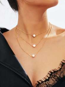 Faux Pearl Pendant Layered Link Necklace