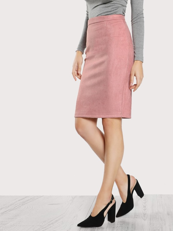 ee53ff59f Solid Suede Pencil Skirt | SHEIN