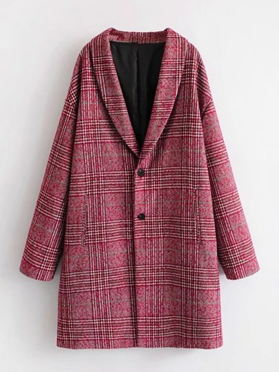 Shawl Collar Plaid Coat