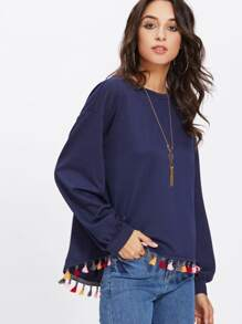 Colorful Tassel Trim Dip Hem Heathered Pullover