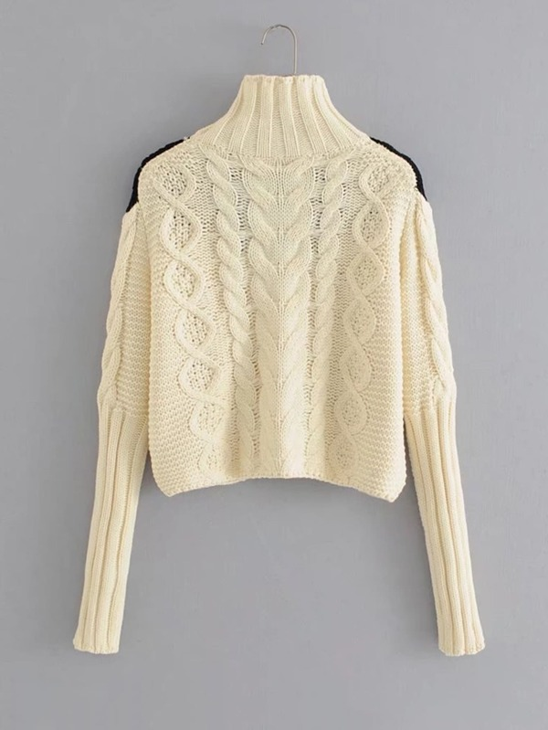 Contrast Lace Crochet Cable-knit Sweater 84bfbe98d