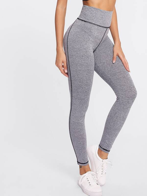 3590e70ec48a9 High Waist Marled Knit Leggings | SHEIN