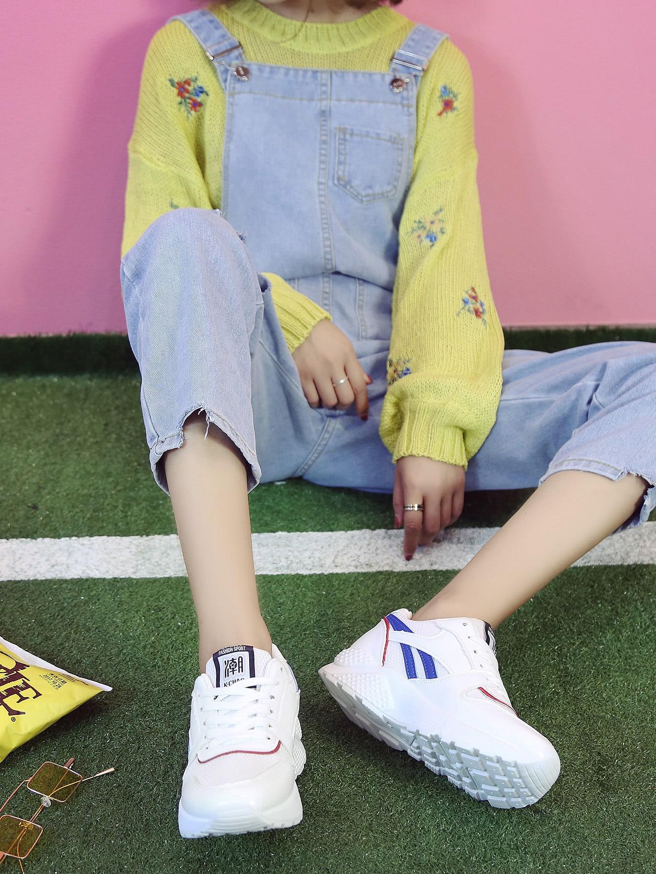 Chaussures de sport à lacets en similicuir