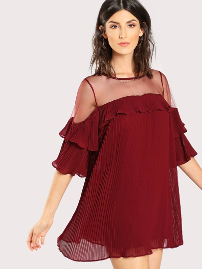 d58c9b1212f Layered Ruffle Mesh Insert Dress