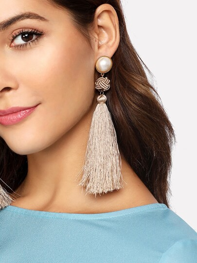 Faux Pearl Top Tassel Drop Earrings 1pair