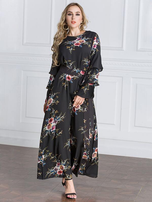 d99c331c2 القياس الكبير الطبقات أكمام أزهار طباعة ماكسي فستان   شي إن