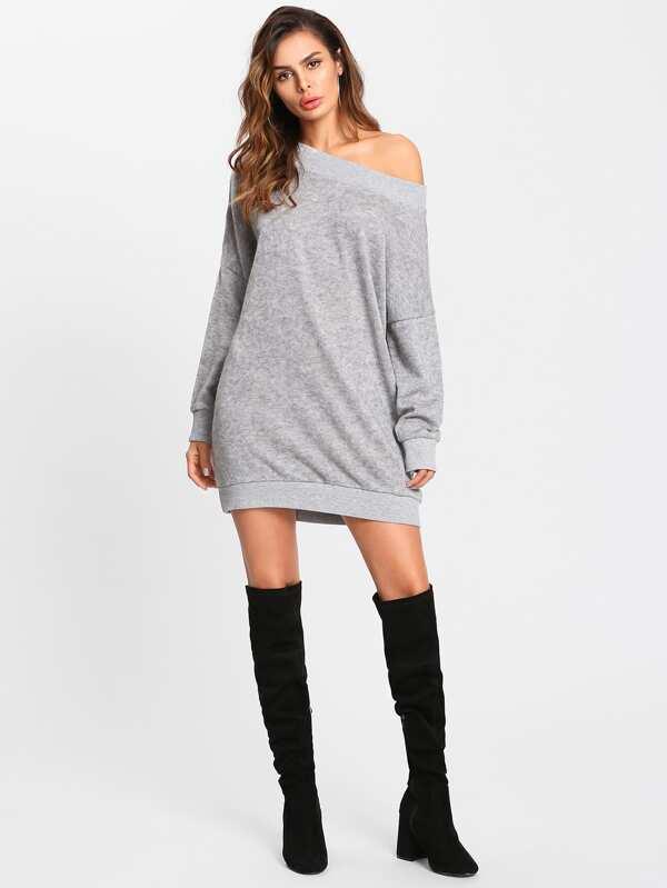 98989febbca Off Shoulder Marled Knit Sweater Dress