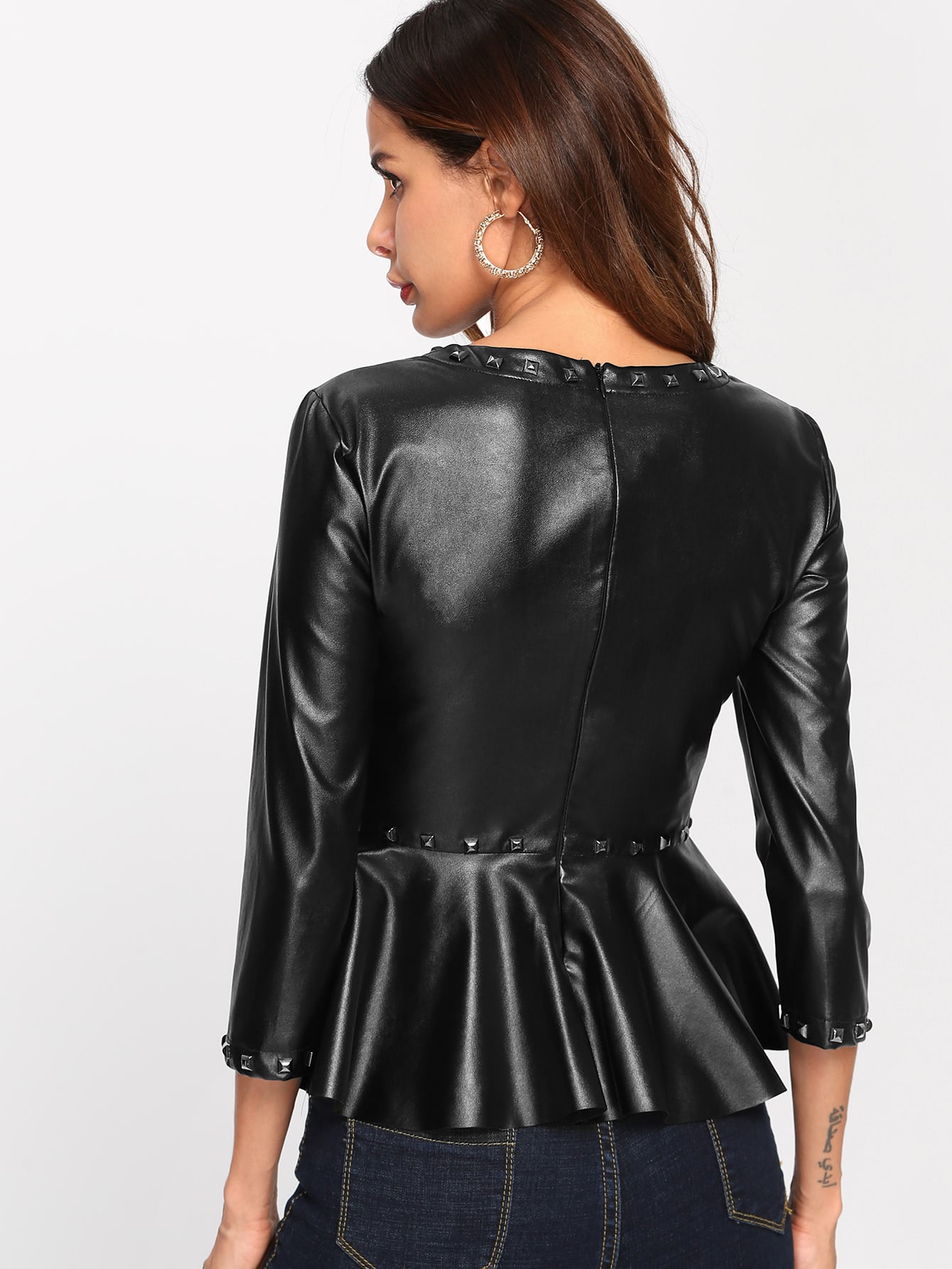 25f2ecfe3ac6 Studs Detail Faux Leather Peplum Top