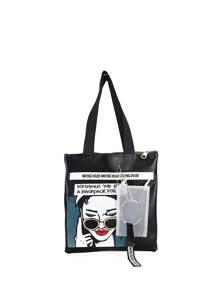 Graphic Print PU Shoulder Bag