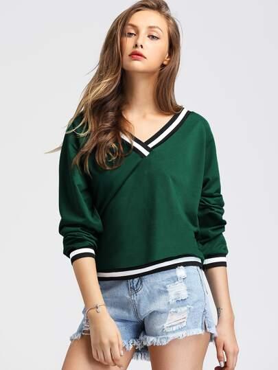 9d1193cbd3a9 Contrast Striped Trim V-neckline Sweatshirt
