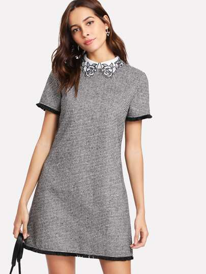 Contrast Collar Fringe Trim Houndstooth Dress