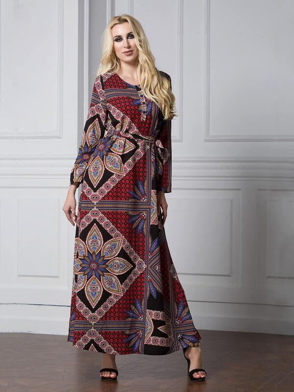 86f18407a0 Plus Allover Printed Self Tie Waist Maxi Dress | SHEIN