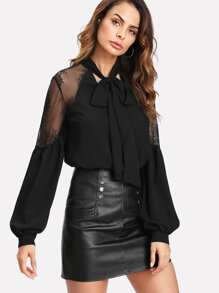 Tie Neck Lace Panel Lantern Sleeve Blouse