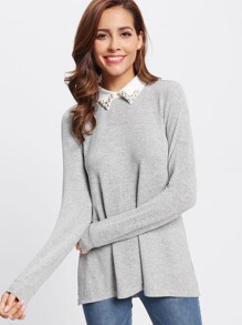 Contrast Beading Collar Heathered Tee