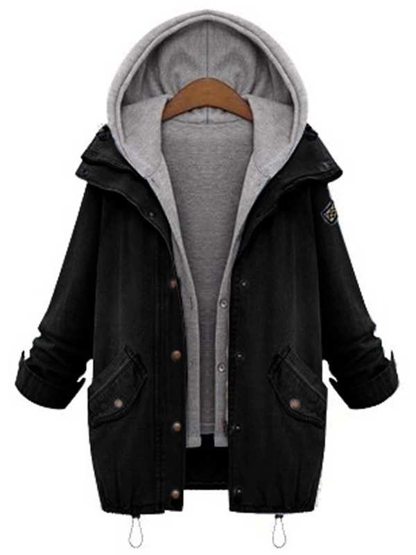 cc56f7e490 Hooded Drawstring Boyfriend Trends Jean Swish Pockets Two Piece Coat   SHEIN  UK