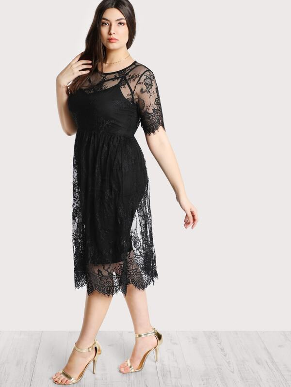Plus High Waist Floral Lace Cover Up Dress Without Cami Shein