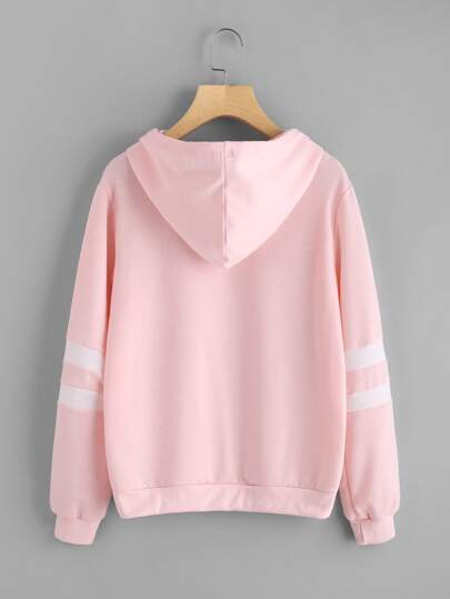 pink planet print varsity striped hoodie - 405×539