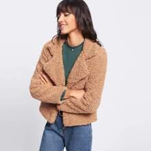 - Lapel Sherpa Teddy Jacket