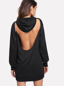 Open Back Drawstring Hoodie Dress
