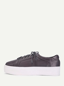 Lace Up Flatform Satin Shoes