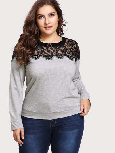 Plus Scalloped Eyelash Lace Yoke Sweatshirt