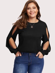 Plus Split Sleeve Keyhole Back Chiffon Top
