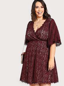 lace overlay surplice front dress