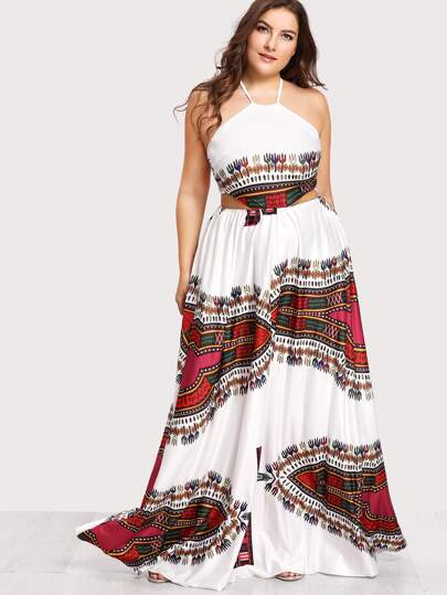 7a78353f2 Plus Ornate Print Lace Up Backless Dress