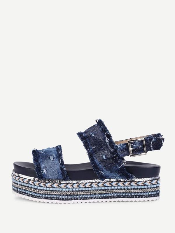 4ca2940dbb6 Frayed Trim Denim Flat Sandals