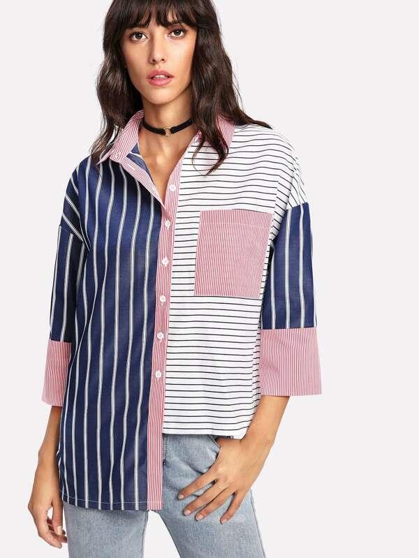 21a4f99fa5 Stepped Hem Mixed Stripe Shirt | SHEIN UK