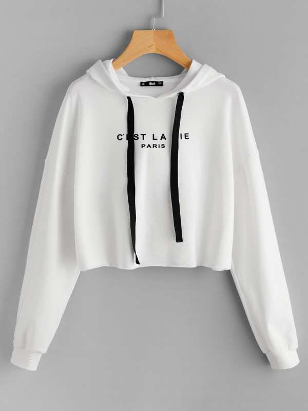 c69fbacc74da1 Drop Shoulder Raw Hem Crop Hoodie