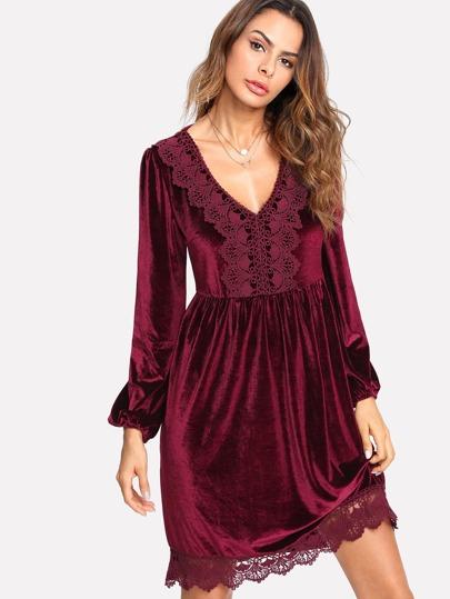 Robe en velvet avec applique de dentelle avec manche lanterne -French  SheIn(Sheinside)