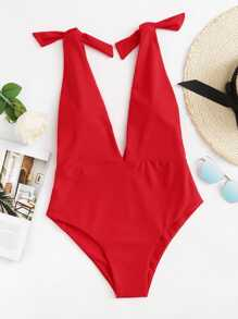 Deep V Self Tie One Piece Swimsuit