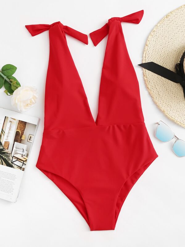 76f2f75a27 Plunging Self Tie One Piece Swimsuit | SHEIN