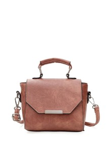 Metal Detail Flap Satchel Bag