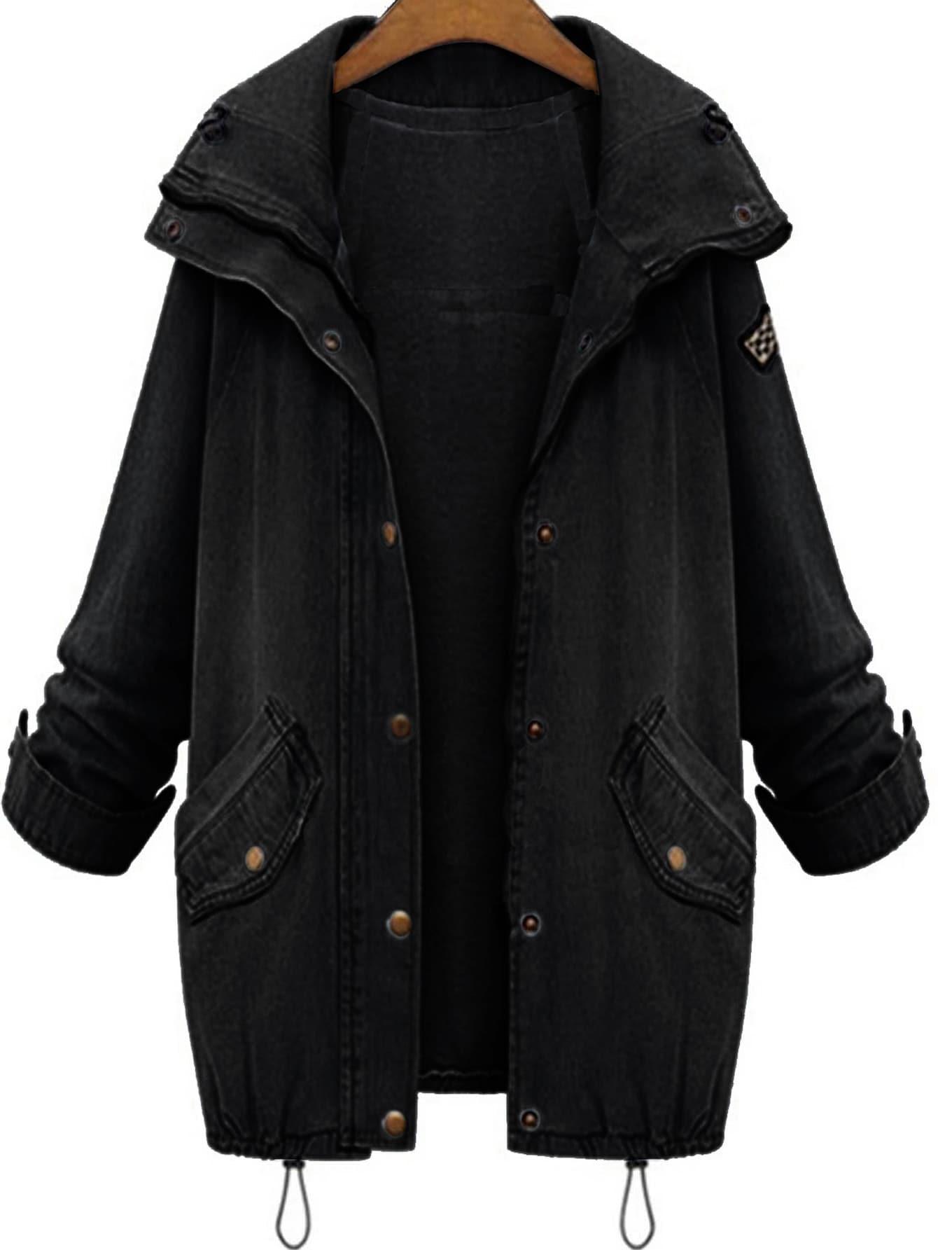 67f6b2e774 Hooded Drawstring Boyfriend Trends Jean Swish Pockets Two Piece Coat   SHEIN  IN