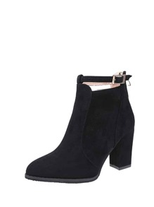 Pointed Toe Block Heeled Ankle Boots
