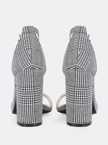be9d9084f5 Plaid Print Ankle Strap Heels BLACK WHITE | SHEIN IN