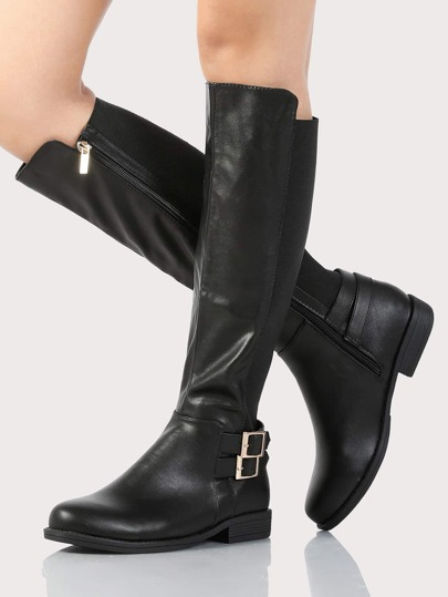 Elastic Band PU Knee High Boots BLACK