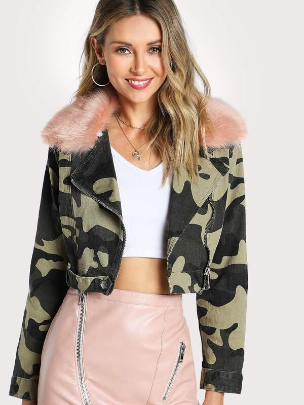 8d918de78e838 Camo Print Fur Lined Cropped Jacket CAMO PINK | SHEIN