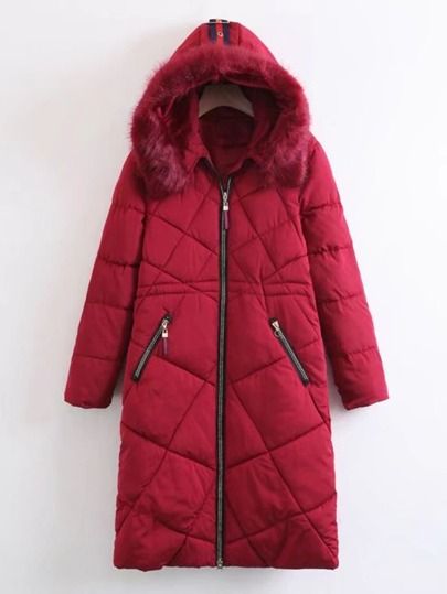Faux Fur Hooded Longline Padded Coat