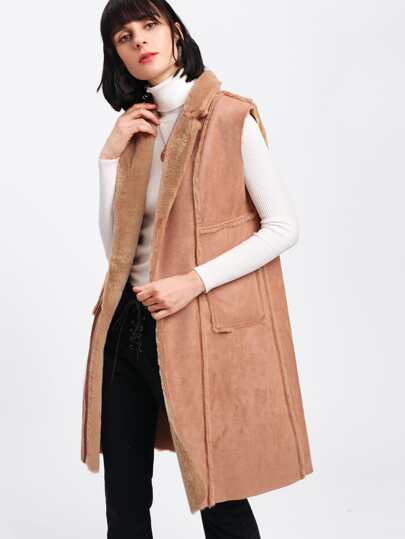 Faux Fur Lined Suede Vest Coat