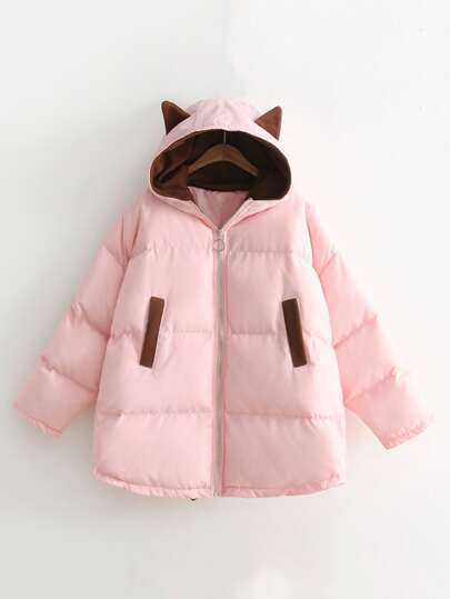 Contrast Elbow Patch Hooded Coat
