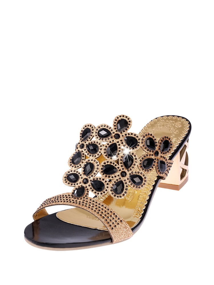 ad3bd41cb77 Rhinestone Decorated Block Heeled Sandals