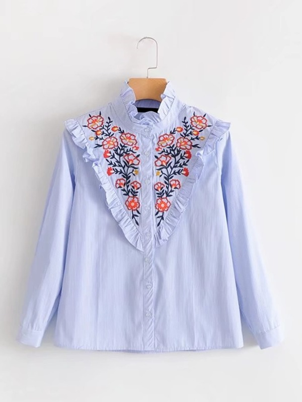 e55ba2b23 Frill Detail Flower Embroidery Striped Blouse | SHEIN
