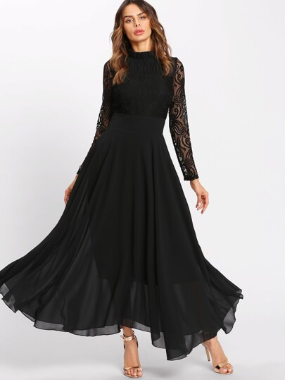 Frill Neck Lace Flowy Maxi Dress